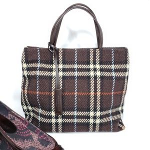 Burberry plaid wool & leather tote